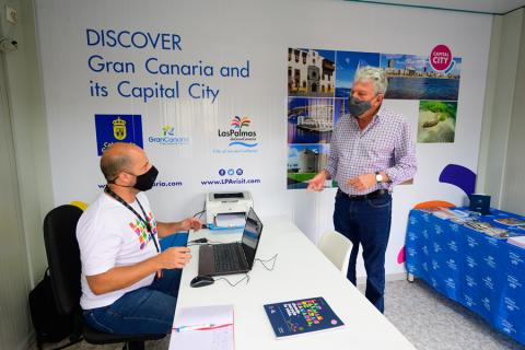 Punto de información turística de la regata ARC en Las Palmas de Gran Canaria