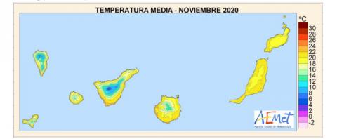 Temperatura media en Noviembre en Canarias / CanariasNoticias.es