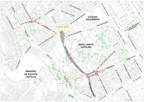 Desvío de tráfico por obras de la MetroGuagua en Las Palmas de Gran Canaria