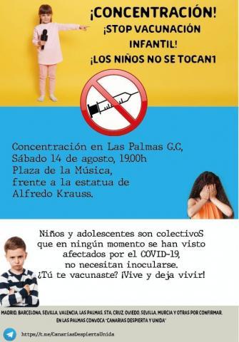 Concentración ¡Stop vacunación infantil! en Las Palmas de Gran Canaria