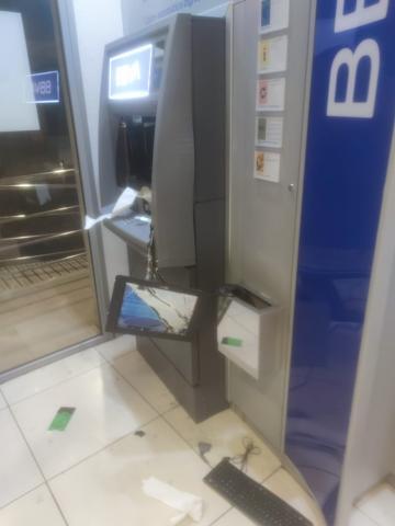 Estado en el que quedó el cajero automático tras el robo en Guía / CanariasNoticias.es