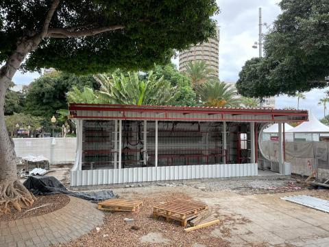 Obra de la nueva taquilla de Guaguas Municipales en Santa Catalina / CanariasNoticias.es
