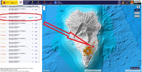 Terremoto de 4,9 en Mazo. La Palma/ canariasnoticias