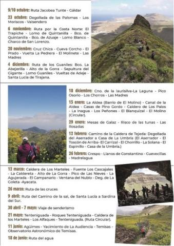 Calendario de rutas de senderismo de Valleseco